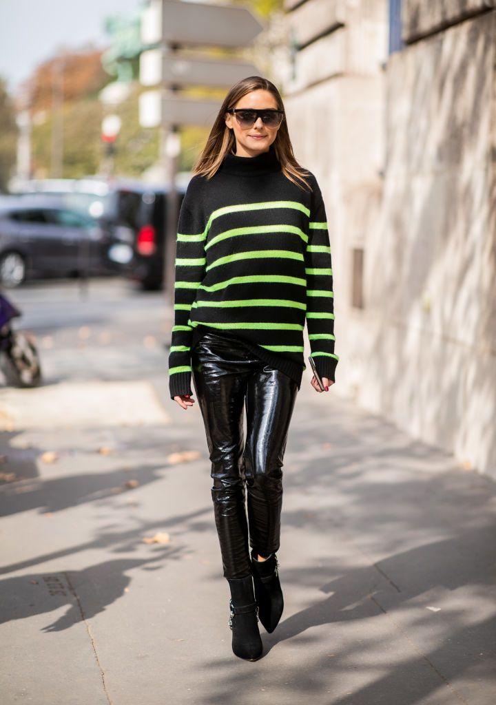 d2c14231bc PARIS, FRANCE - SEPTEMBER 28: Olivia Palermo wearing black neon striped  knit, black vinyl pants, sunglasses is seen outside Balmain during Paris  Fashion ...