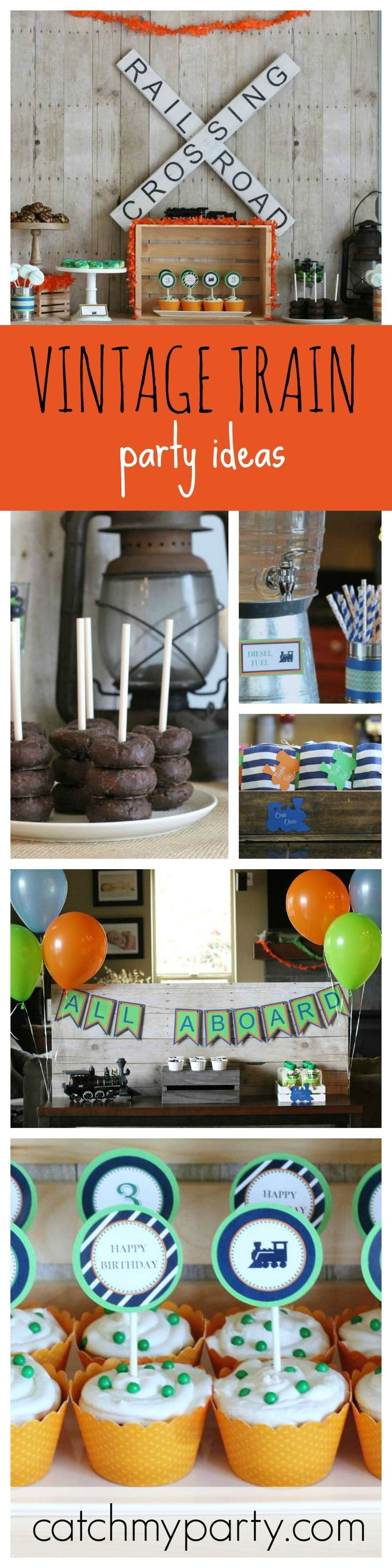 All Aboard this Fun Vintage Train Birthday Party Express! Such cute Cup Cake Toppers.
