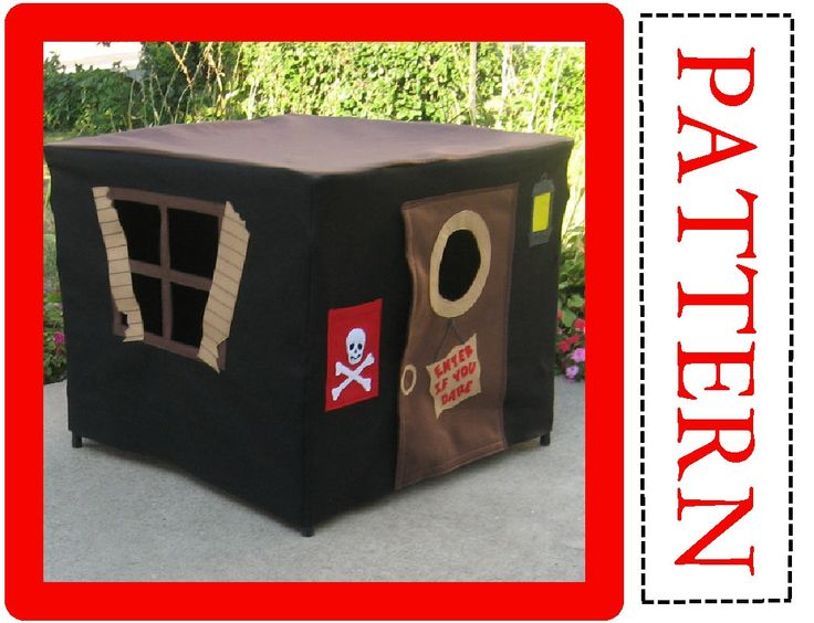 Pattern, Pirate's Hideout Card Table Playhouse, Ebook Instant Download, Complete Pattern, Includes Full Alphabet Sets for Personalization. $18.00, via Etsy.