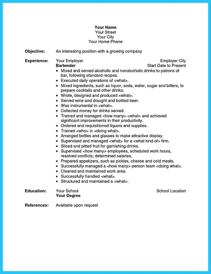 12 best 7\/16\/2017 bartender resume images on Pinterest Sample - sample resume for server