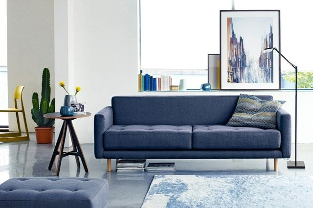 Wohnzimmer Wohnideen blau Sofa Zweisitzer Teppich