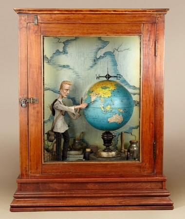 """Tom Haney : Wanderlust, 2010, automata, handmade electronic moving sculpture with found materials, 28"""" x 23"""" x 12"""" (THAN111)"""