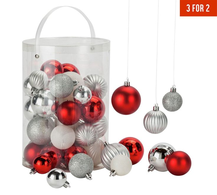 Buy HOME 50 Piece Bauble Pack - Red, White and Silver at Argos.co.uk - Your Online Shop for Christmas tree decorations, Christmas trees, lights and decorations, Home and garden.
