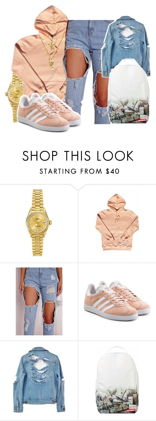 """$ave Dat Money ~ Lil Dicky"" by retrovintagepizza on Polyvore featuring Rolex, adidas Originals, High Heels Suicide, Sprayground and The Gold Gods"