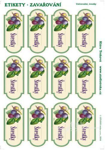 Samolepicí etikety, zavařování švestky