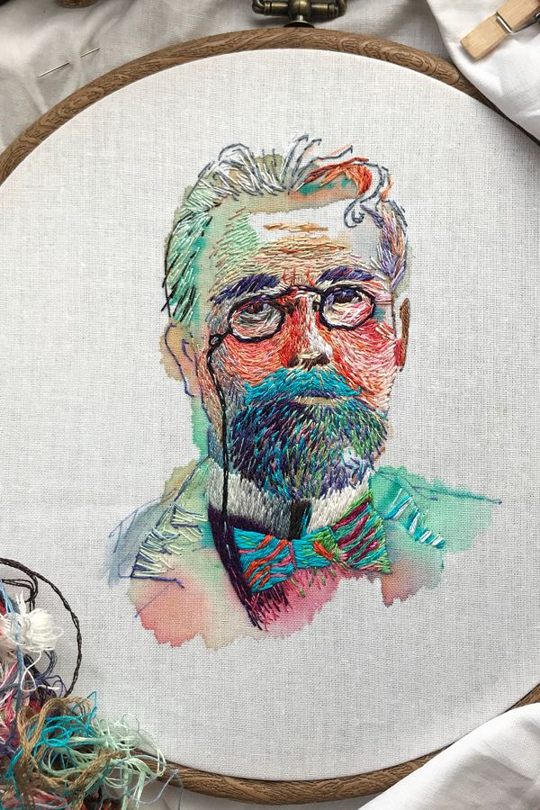 Embroidery Stitched Atop Carefree Watercolor Washes Is Portraiture