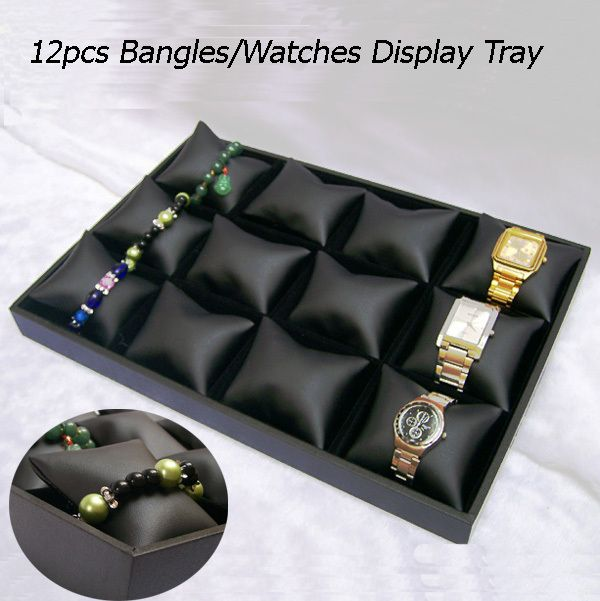 Free shipping Black velvet 12Cells Jewelry Tray with Black Leather Pillow Display Jewelry Bracelet Watch Display Box/Case/Tray