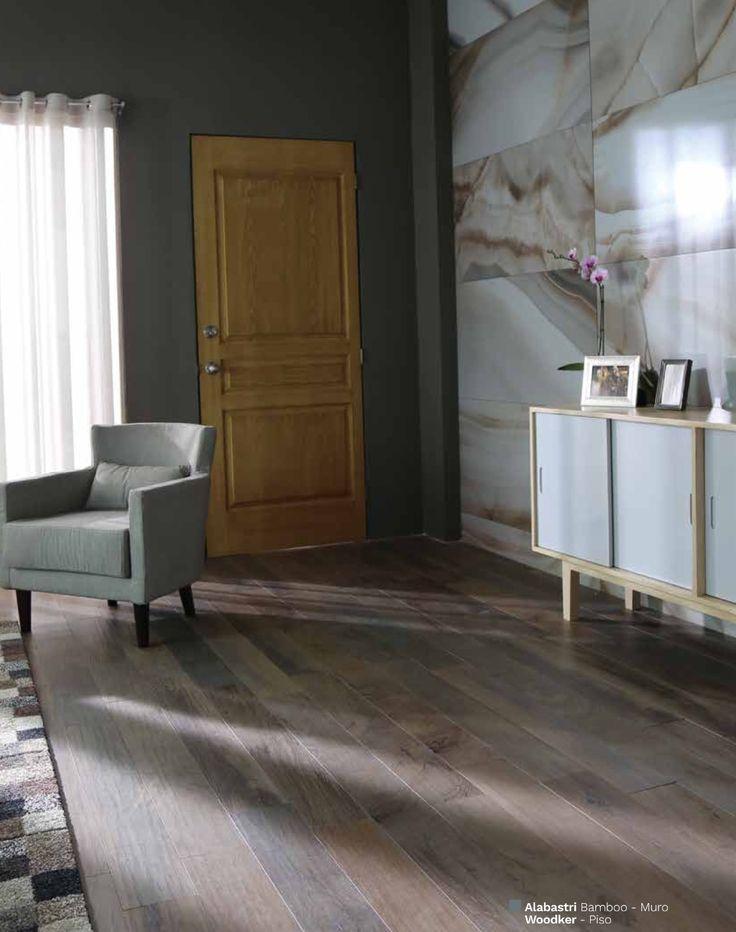 Alabastri Bamboo (muro) Woodker (piso) Porcelánicos esmaltados.