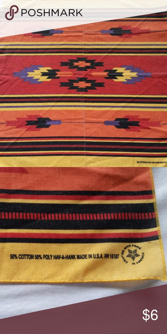 Vintage Southwestern/Santa Fe Pattern Bandana Cotton/Poly 1980's Hav-A-Hank Santa Fe Bandanna. Light fading expected with age. Good vintage condition. Hav-A-Hank Accessories Scarves & Wraps
