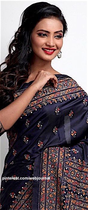 Handstitched kantha embroidery on handloom silk from indiansilkhouse.com