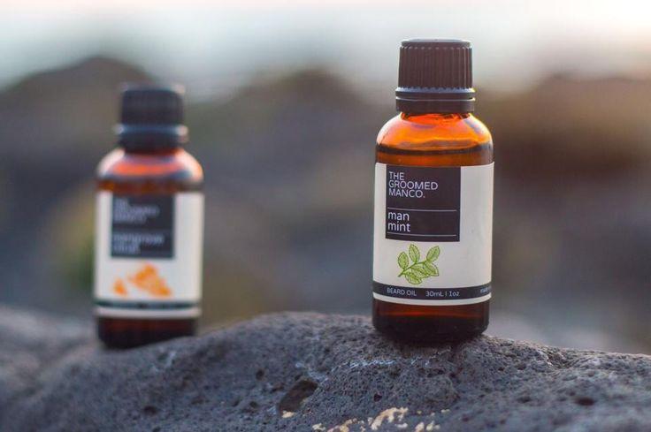 Man Mint Beard Oil and Mangrove Citrus Beard Oil. Available at www.thegroomedmanco.com  #mensstyle #beardoil #beard #australia