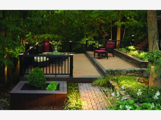 Tiered deck home and garden design idea 39 s deck bar bq for Tiered garden designs