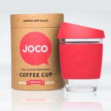 Red JOCO Glass Coffee Cup & Packaging