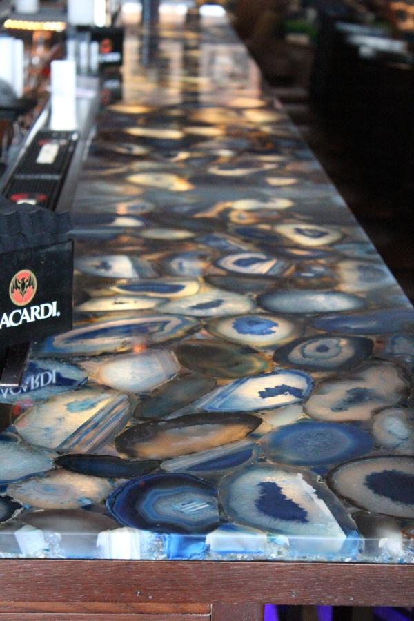 Caesarstone Concetto Profondo 8531 bar top- made from semi-precious stones. Visit globalgranite.com for more countertop options.