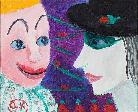 Alice Kaira: Sirkusklovneja, öljy levylle, 26x32 cm - Bukowskis