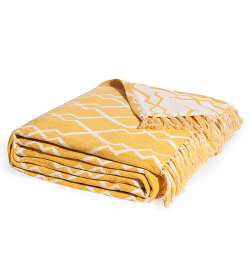 Copriletto giallo in cotone con motivi jacquard 160x210cm SETE