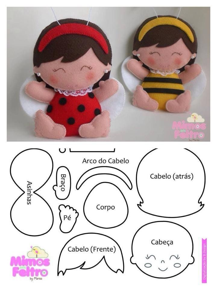 felt ladybug and bee dolls