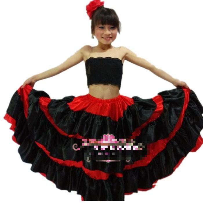 Pas cher Kid \u0027s New Flamenco danse robe fille robes de Flamenco espagnol  Paso Doble