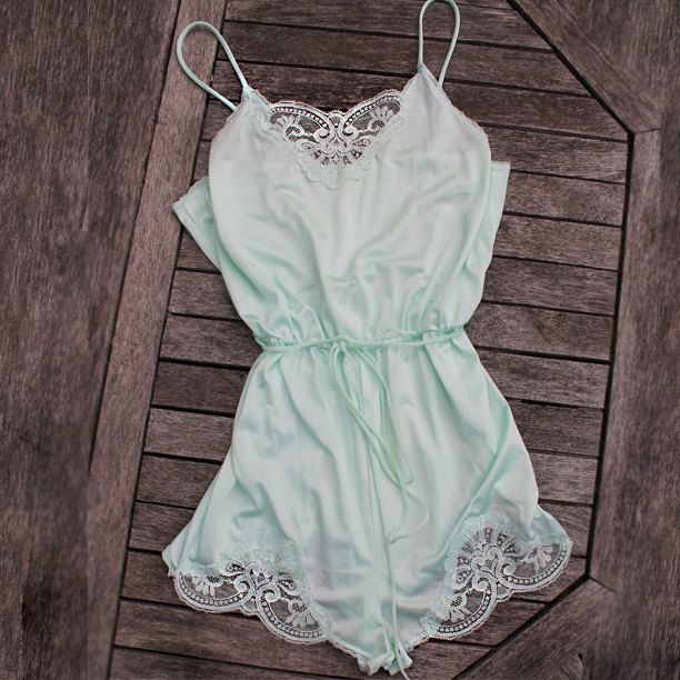 Vintage Mint Lace Teddy Lingerie Jumper by SHOPTERRIBLAY on Etsy