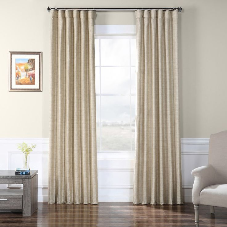 Eff Faux Raw Silk Window Curtain Brown 50x108 Panel