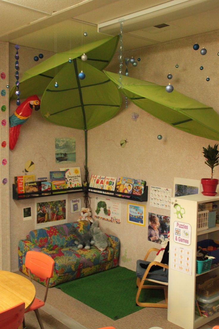 Classroom Decor High School ~ Reading center idea ikea leaves and christmas balls for