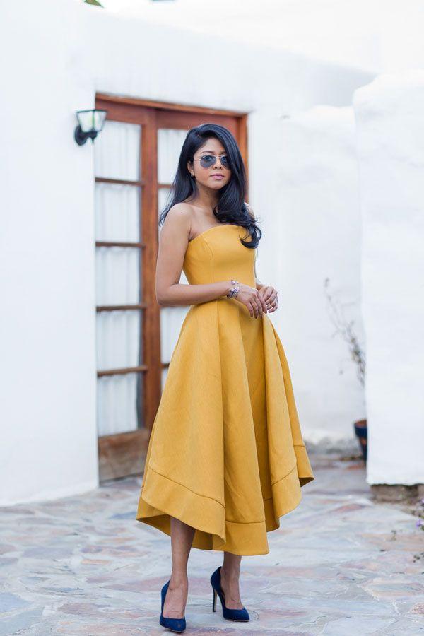 Simple yellow satin prom dress, cute yellow evening dress