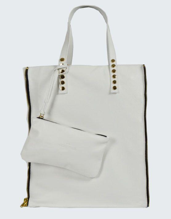 White leather bag shopper www.nouriso.ro