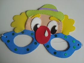 MOLDES DE E.V.A: Máscara palhaço para o dia das crianças!!!