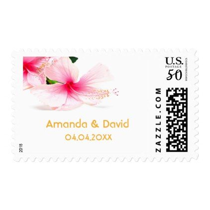 Pink Hibiscus Flower On White Names And Date Postage