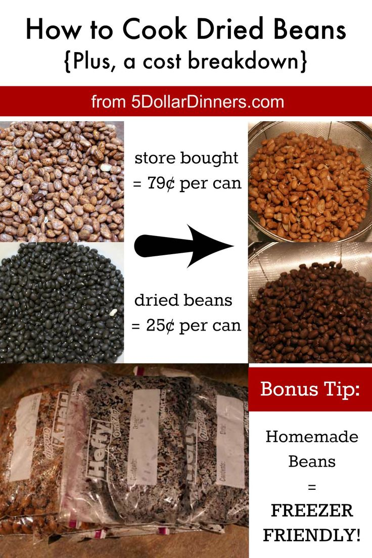 How to Cook & Freeze Dried Beans as well as see how much money they save vs buying prepared cans of beans! | 5DollarDinners.com