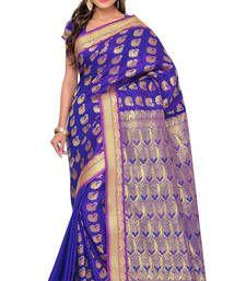 Buy Eid Special Blue printed art silk saree with blouse kanchipuram-silk-saree online