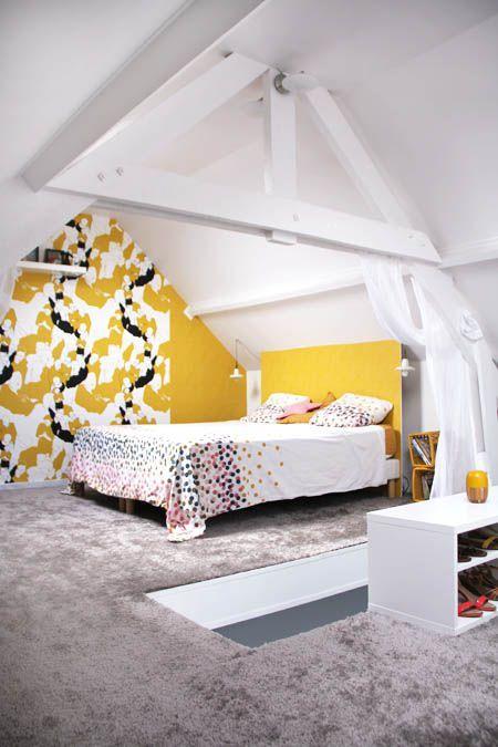La chambre avant apr s t te d 39 ange anglais couleurs for Moquette jaune moutarde