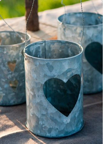 Single Heart Zinc T light holder    Zinc T light holders. Hang in surrounding trees or simply have on the table or line along a path Large heart design.  H 8cm  LOW STOCK  Price: £3.50