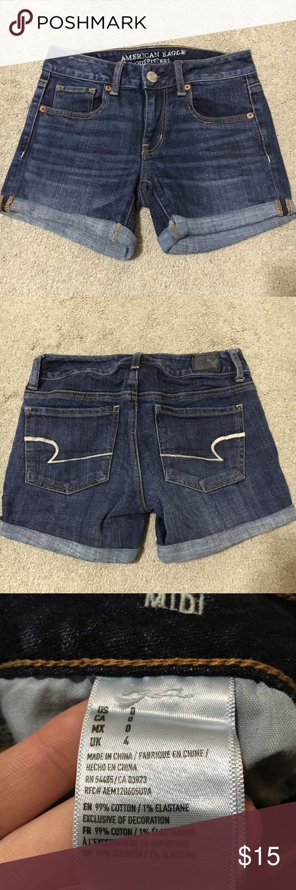 American Eagle Jean Shorts -Only worn a few times -Super comfortable and stretchy -Medium wash denim American Eagle Outfitters Shorts Jean Shorts