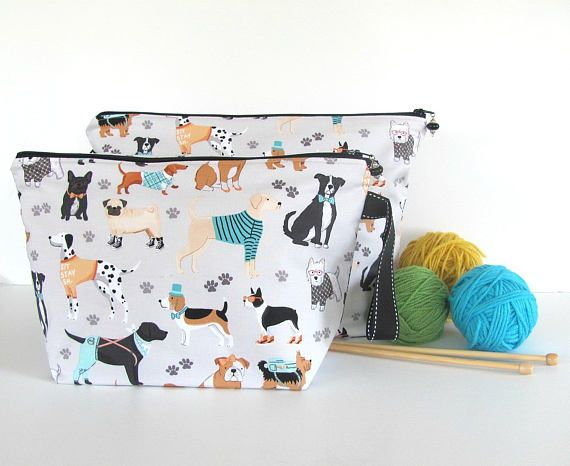 Dogs Knitting bag Zipper Crochet project bag Socks or Shawl size