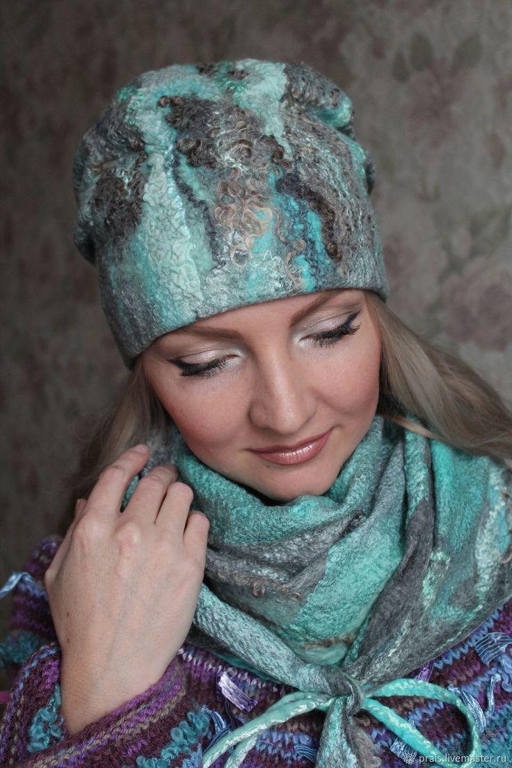 """Купить Авторский валяный комплект """"Колотый лёд"""" - мятный, шарф валяный, шапка валяная"""