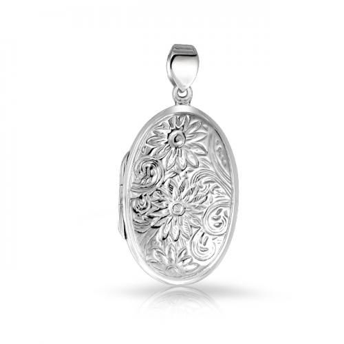 Sunflower Oval Locket Flower Pendant 925 Sterling Silver Engraved