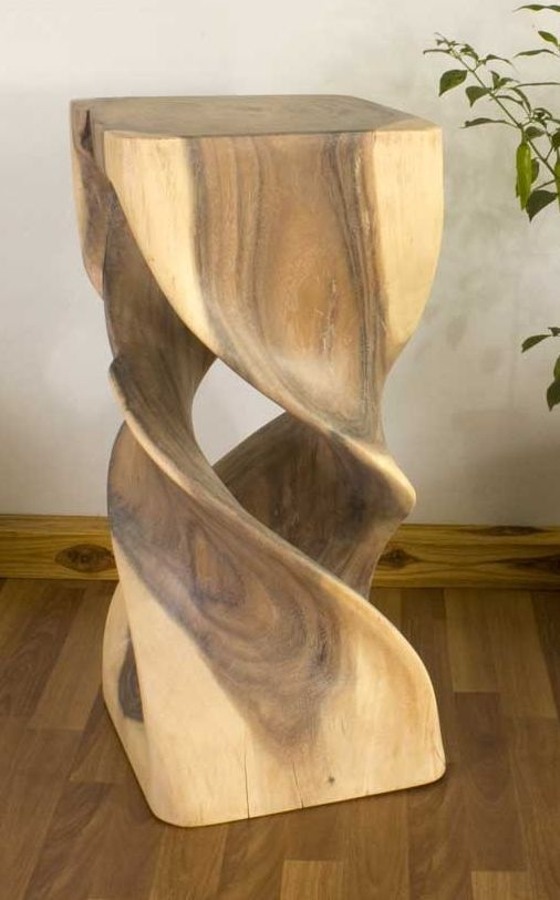 "Double Twist Stool 12"" x 26"" White OIl Finish  Hand Carved Wood #Furniture $269.00"