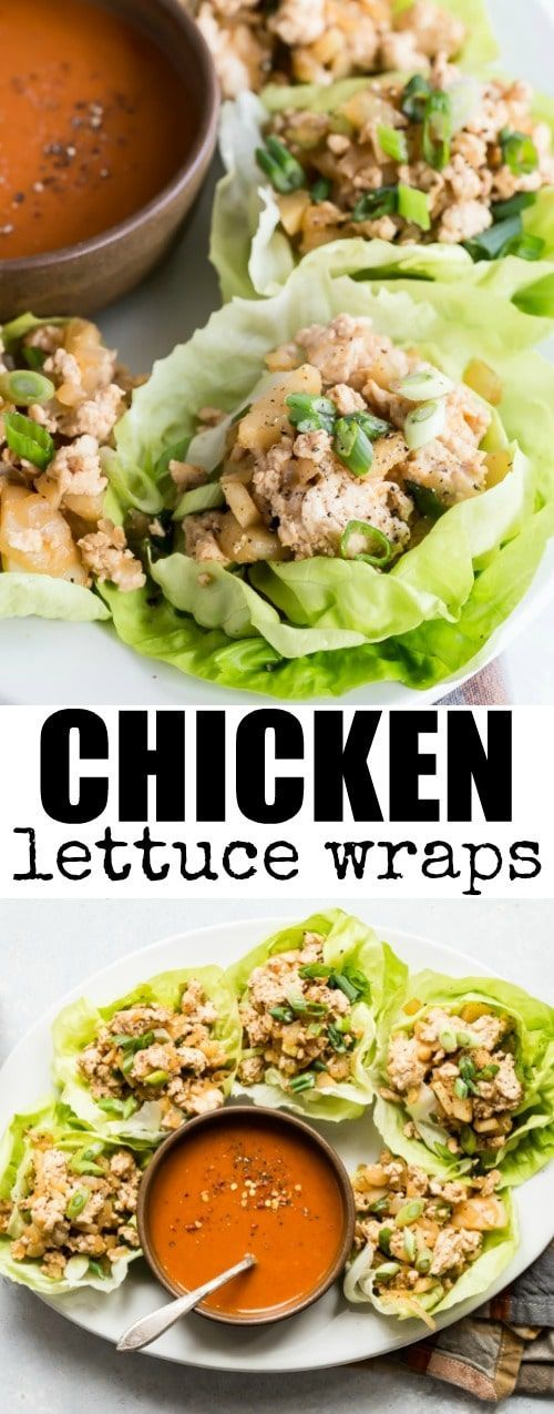 These easy Chicken Lettuce Wraps are healthy, delicious, and full of your favorite Asian flavors. And you'll love the spicy 3-ingredient dipping sauce! #chickenlettucewraps #lettucewraps #healthy #lunch #dinner