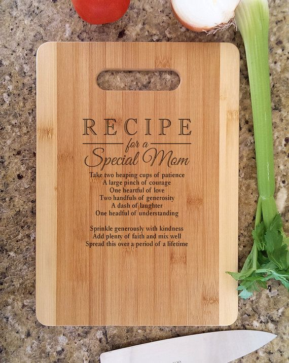 Personalized Recipe for a Special Mom Engraved Cutting Board Custom Laser Engraved Bamboo Wood Cutting Board Perfect for a Mothers Day Gift, Gift for