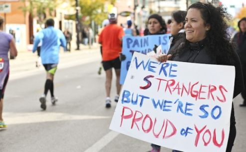 We spotted funny signs, heart-warming signs and just weird signs at the Chicago Marathon.