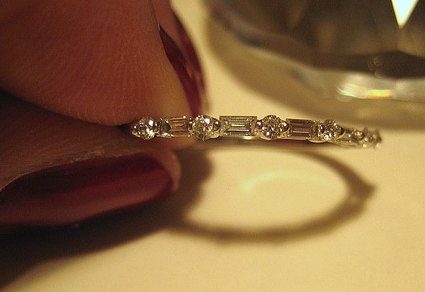 dainty and thin round n baguette diamond wedding band for women