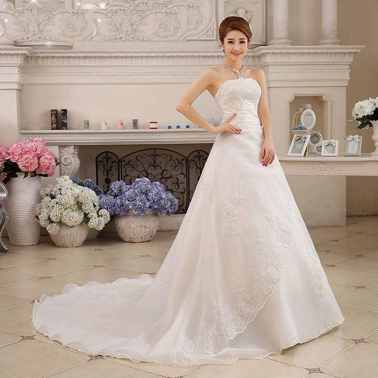Cheap dress strapless, Buy Quality gown dress directly from China dress news Suppliers: 2016 Elegant Mermaid Sweetheart Beaded Organza Chapel Wedding Dress Party dress Custom-madeUSD 43.90-49.00/pieceCustom M