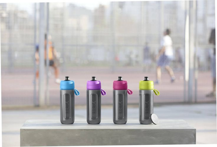 Range of lime, purple, pink, blue fill&go Active in a sportpark
