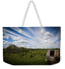 Weekender Tote Bag featuring the photograph Clouds, Grass And Water Well by Elena Ivanova IvEA  #ElenaIvanovaIvEAFineArtDesign #WeekenderToteBags #IvEA #Gift #Accessories #Design #Print