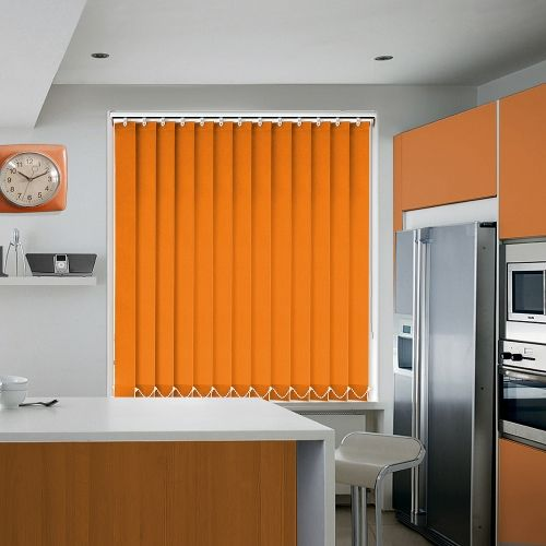 Window covering vertical blind in a plain shade of orange.
