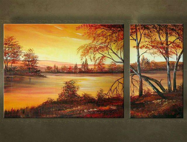 Ručne maľovaný obraz KRAJINA 2 dielny 2463FA