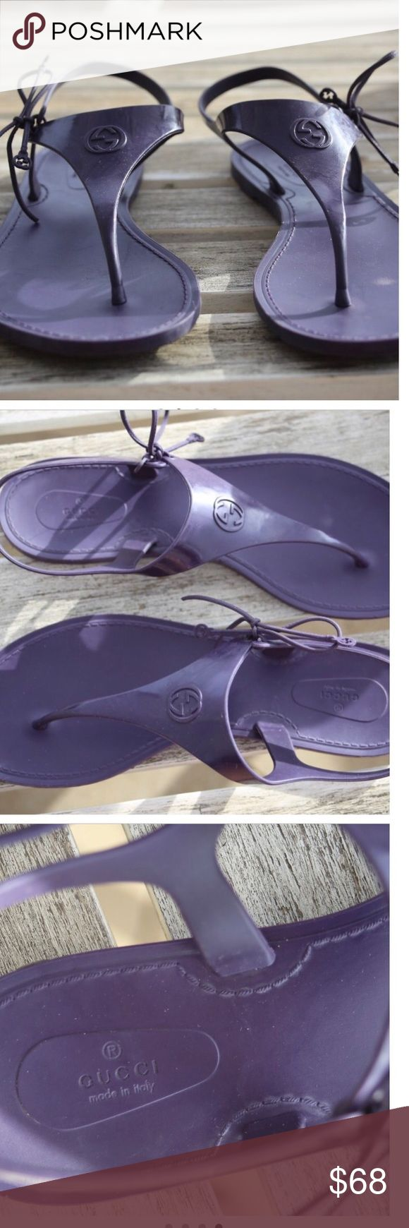 Gucci women's jelly sandals 7.5 Gucci authentic women's jelly/rubber sandals. Size 7.5 color is purple. Slightly used but I'm good condition Gucci Shoes Sandals