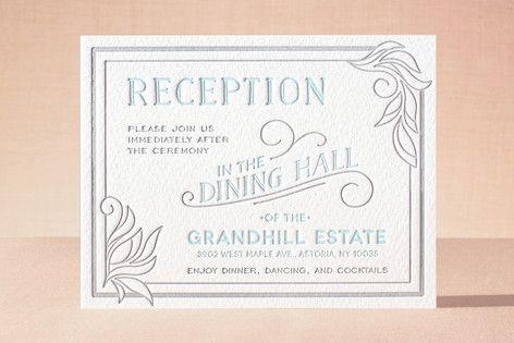 """Antique Press"" - Letterpress Reception Cards in Pool by GeekInk Design."