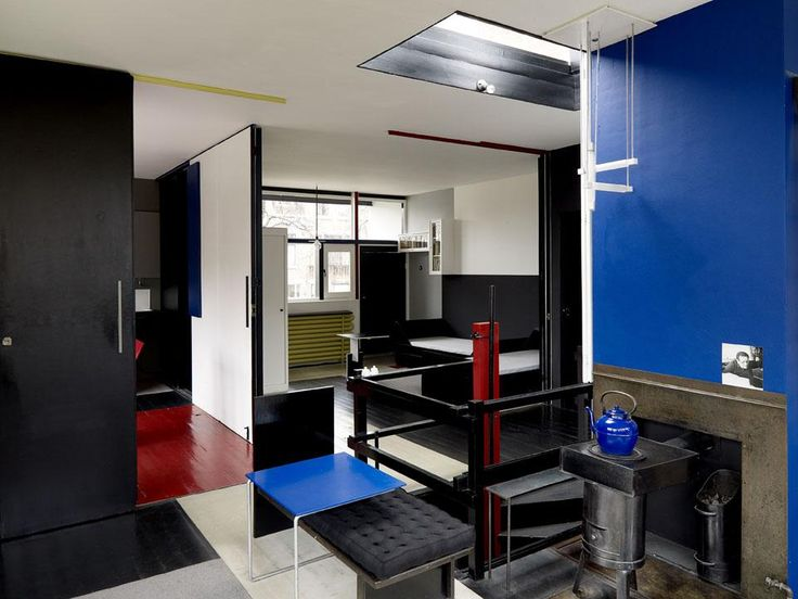 Gerrit Rietveld, Shröder House Interior. The home was designed for maximum functionality with sliding partitions for walls. During the day, Mrs. Schröder-Schrader could keep an eye on her children, while at night, the partitions formed a cozy, private, 3-bedroom space. WHY did this idea not catch on?!?!?!